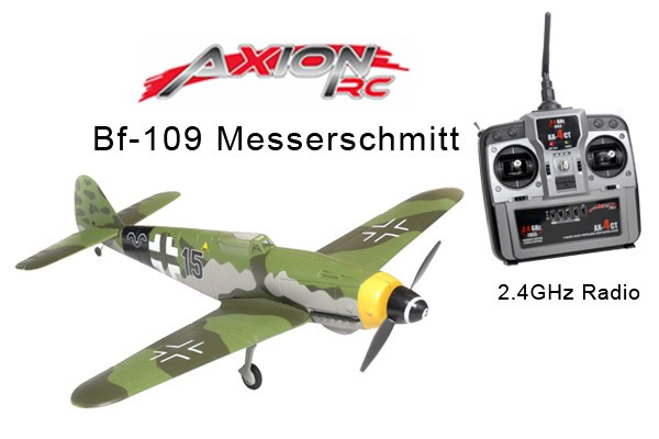 AxionRC Bf-109 Messerschmitt RTF with 2.4GHz 4-Channel Radio (Mode 1)