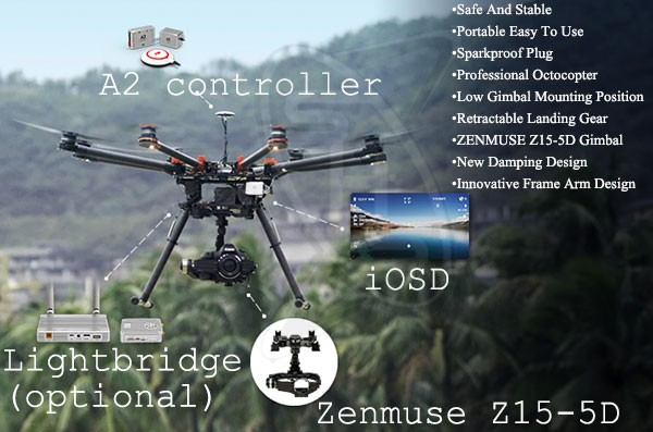 DJI S1000 Spreading Wing Premium Edition with A2 Flight Controller and Z15-5D (for Canon 5D Mk 2 or 3)