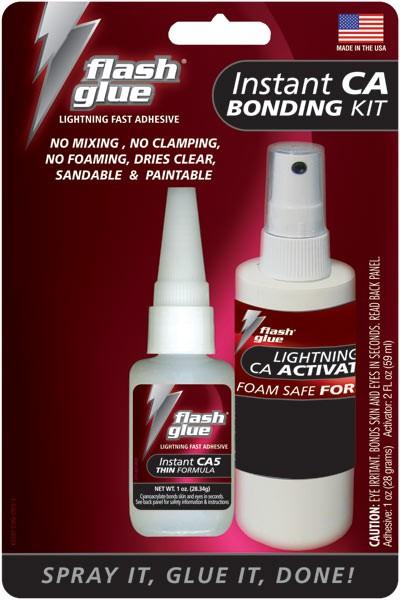 Flash Glue Mutli-purpose Wood Bond Kit (1 oz CA & 2 oz Activator)