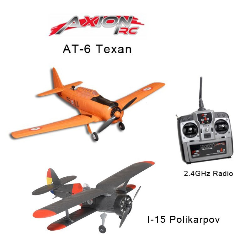AXIONRC Bi-wing Bundle (AT-6 Texan RTF and I-15 Polikarpov L&F) w/ 1TX