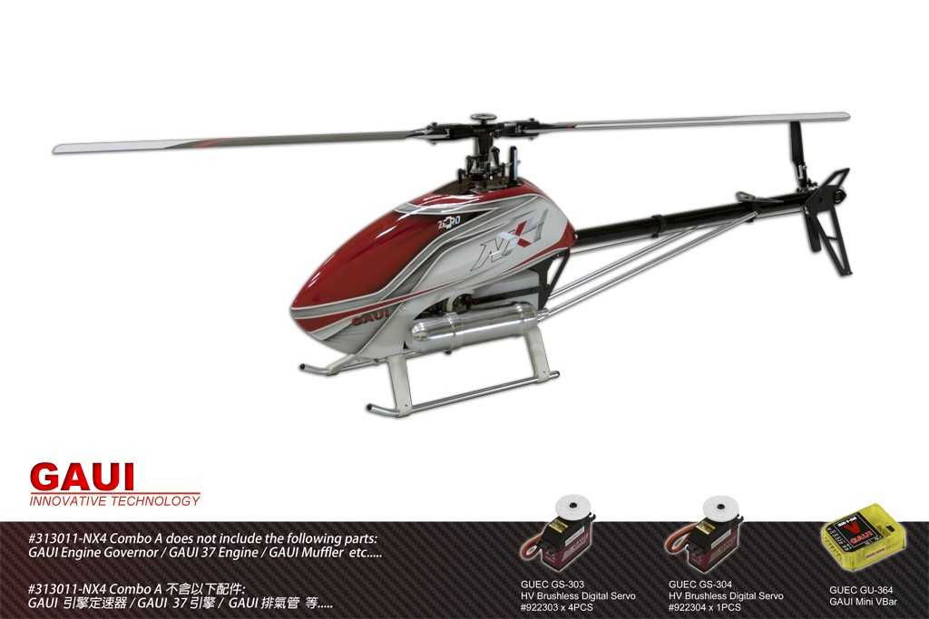 Gaui 313011 NX4 Flybarless Helicopter (Combo A)