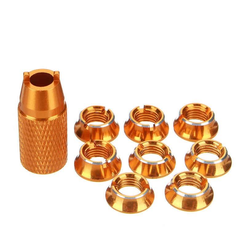 SINGAHOBBY Transmitter Screw Nuts for FUTABA / JR / FRSKY - Gold (8)