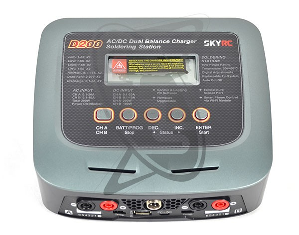 Skyrc D200 AC/DC Dual Output Charger with Soldering Station and USB Charger