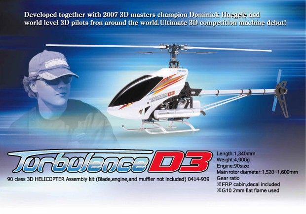 Hirobo 0414-939 Turbulence D3 - 90 size 3D Helicopter